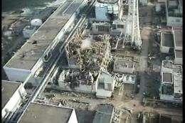 An aerial view of TEPCO's No.1 Fukushima nuclear power plant at Okuma