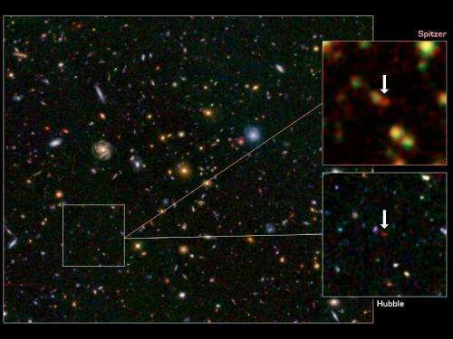 NASA telescopes help find rare galaxy at dawn of time
