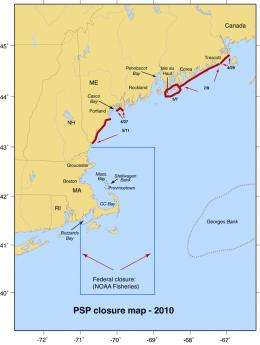 Researchers report potential for a moderate New England 'Red Tide' in 2011