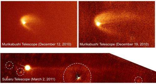 Researchers explain the formation of Scheila's unusual triple dust tails