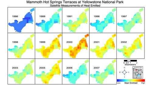 Landsat satellites track Yellowstone's underground heat