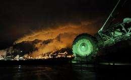 A disused mining machine on display