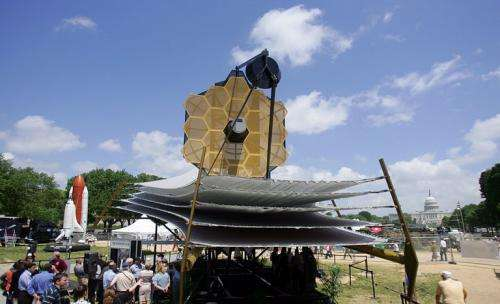 A full scale model of the James Webb Space Telescope sits on the National Mall in 2007