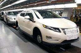 A General Motors Chevrolet Volt goes through assembly
