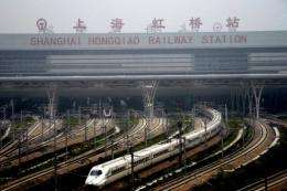 A high-speed train, which will link Beijing and Shanghai goes on a trial run in Shanghai
