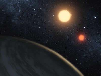 An exoplanet orbiting a double star