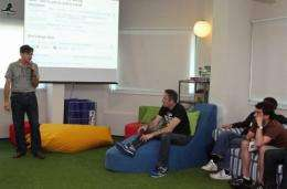 A picture made available by the France-Israel Foundation shows David Kadouch (L), product manager for Google Israel