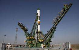 A Russian Soyuz rocket stands on the launch pad at the Baikonour cosmodrome