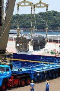 A shipment of mox fuel arrives at the Genkai nuclear power plant in 2009