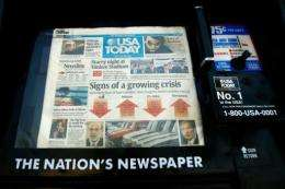 A USA Today newspaper is seen on a stand in 2008
