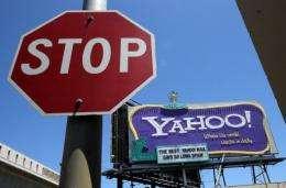 A Yahoo! billboard by a road junction in San Francisco