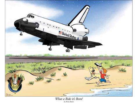 Commemorative space shuttle cartoon created