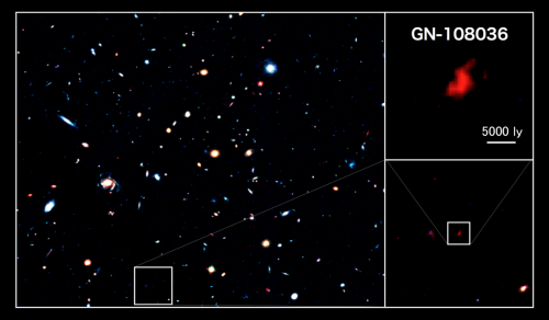 Discovery of a vigorous star-forming galaxy at the cosmic dawn