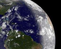 Dramatic satellite image shows daylight breaking over newborn Atlantic Tropical Storm Katia