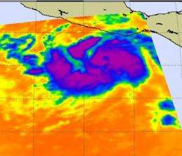 Frigid cloud top temperatures show Hurricane Dora's power