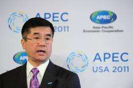 Gary Locke speaks at the APEC Ministerial Meeting in Big Sky, Montana
