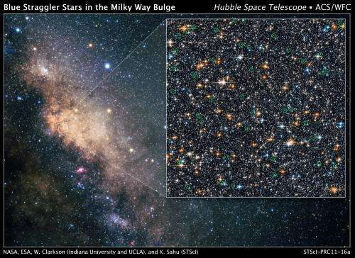 Hubble finds rare 'blue straggler' stars in Milky Way's hub