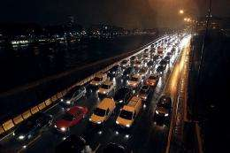 Hundreds of cars are stuck in traffic in Paris