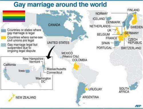 Map showing countries where gay marriage is legal.