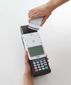 Portable terminal for electronic money payment launched