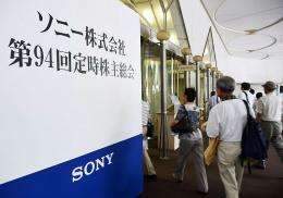 Shareholders of Japanese electronics giant Sony are pictured in Tokyo