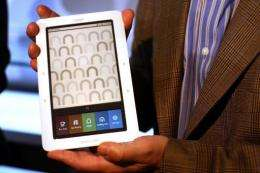 """The Barnes & Noble """"nook"""" digital reader is displayed at a launching in 2009 in New York City"""