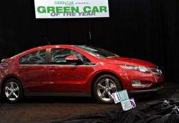"The Chevrolet Volt is shown after being named ""Green Car of the Year"" at the LA Auto Show in 2010"