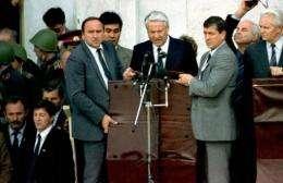 The leader of the Soviet-era Russian republic Boris Yeltsin in 1991