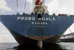 The Probo Koala ship at the port of Tallinn