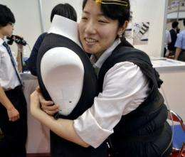 """The """"Sense-Roid' is on display at the 3D & Virtual Reality Expo that kicked off in Tokyo on Wednesday"""