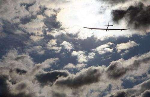 The solar powered airplane Solar Impulse takes off
