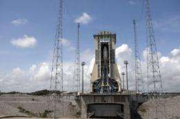 The Soyuz rocket verticaly integrated in its launch complex in Kourou