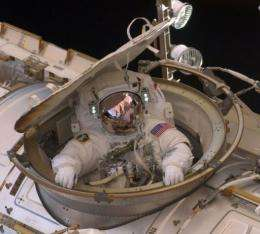 This NASA image shows Astronaut Andrew Feustel as he reenters the space station