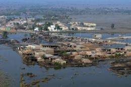 An aerial view of a flooded area of Sanghar in 2011
