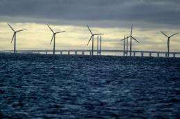 An offshore windmill farm in Denmark