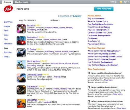 Ask.com adds mobile apps to its search results