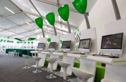 A sponsored area where athletes can use computers and laptops in the London 2012 Olympic Athletes Village in London
