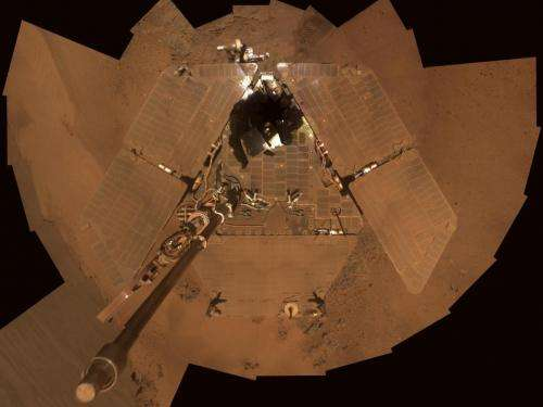 Dusty Mars rover's self portrait