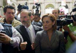Mexican presidential candidate for the National Action Party (PAN), Josefina Vazquez Mota (R)