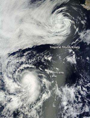 NASA sees Eastern Pacific storms power up and down