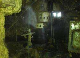 Picture taken on April 10, 2012 Total E&P UK shows the Elgin G4 wellhead being cleaned, with leaking gas flume visible