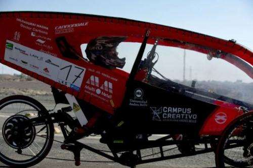 The driver of the Chilean team Unab competes in the first stage of the Atacama Solar Challenge
