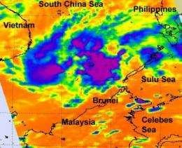 NASA satellite sees thunderstorms banding around developing system 96W