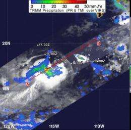 NASA's TRMM Satellite sees a small area of heavy rain left in Tropical Storm Hector