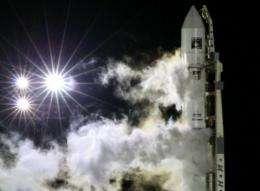 A rocket carrying the Phobos-Grunt spacecraft at Kazakhstan's Baikonur cosmodrome in November