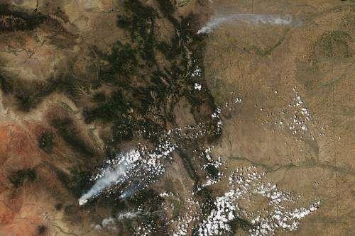 NASA satellites see wildfires across Colorado