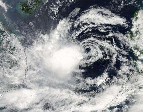 NASA sees very strong wind shear battering Tropical Storm Gaemi