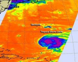 NASA sees Tropical Storm Leslie was causing a problem for itself