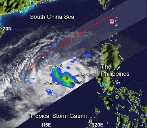 NASA sees Tropical Storm Gaemi's heaviest rainfall around center