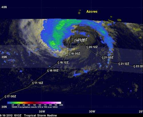 NASA satellite sees fading rainfall in Tropical Storm Nadine